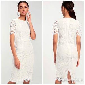 New devotion lulu's white lace midi dress
